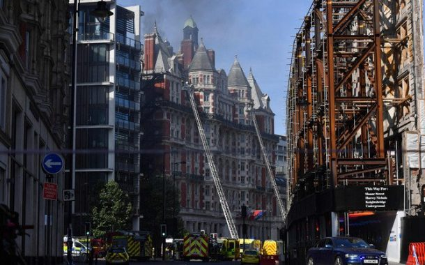 Firefighters bring huge blaze at London's Mandarin Oriental hotel in Knightsbridge under control